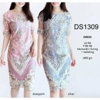 SEDS1309 - DRESS TILE BORDIR MEWAH DRESS WEDDING PARTY WANITA MODERN