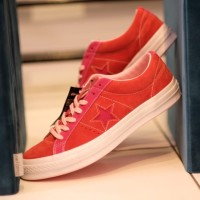 Converse one star suede leather enamel red original