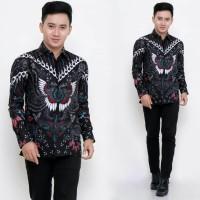 kemeja Batik Pria Lengan Panjang abu-abu