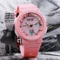 Jam Tangan Wanita Digitec Original Dual Time Pink Water Resist