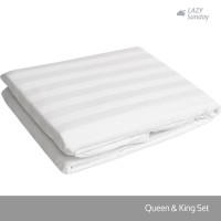 Sprei Motif Salur Queen / King Size - LAZY Sunday - Hotel Collection -