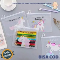 Tokodedee - Zipper Bag Transparan Karakter Unicorn / Tempat Pensil Uni