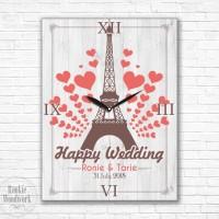 jam dinding / meja, HAPPY WEDDING eiffel