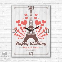 kado wedding jam dinding / meja eiffel