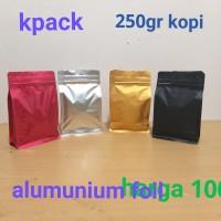 kemasan alumuniumfoil flatbuttom dengan zipper ukuran 250gr kopi