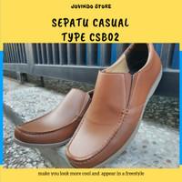 Sepatu Pria Type RS - CSB06 Tan Slip On Shoes - Tan , 39 - 43