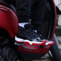 Sepatu Basket Nike Air Jordan 11 / Black Red / Hitam Merah