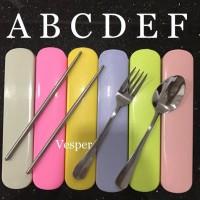 Sendok garpu sumpit stainless set portable travel camping / cutlery