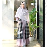 Haira Dress Grey by YASMEERA / Gamis saja / Gamis motif kotak - kotak