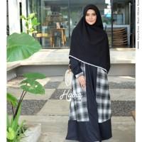 Haira Dress Black by YASMEERA / Gamis saja / Gamis motif kotak - kotak
