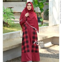 Haira Dress Maroon by YASMEERA / Gamis saja /Gamis motif kotak - kotak