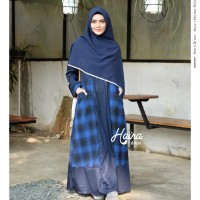 Haira Dress Navy by YASMEERA / Gamis saja / Gamis motif kotak - kotak
