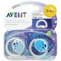 Dijual Empeng Bayi Avent Night Time Orthodontic Pacifier 0-6M Isi 1 -
