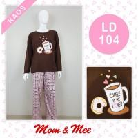 Piyama Dewasa Kaos Coffee Lovers PJG/PJG - KOTAK HIJAU