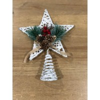 Hiasan Top Bintang Pohon Natal Kawat Salju Pinus - Pucuk Pohon Natal