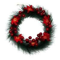 Hiasan Krans Natal Cherry Poinsettia 20cm - Gantungan Krans Murah
