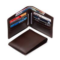 Dompet Kulit Pria - Bifold Wallet - Muat Banyak Kartu - Coklat Tua