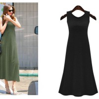 Gaun Long Dress Korea Black Basic (S) Import