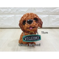 patung pajangan anjing red toy poodle miniatur pudel doggy