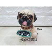 patung pajangan miniatur anjing pug welcome petshop dog doggy