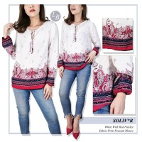 Blouse Wanita Branded- 23364- 23365- 23aa-Sol-pt- white with red