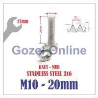 Baut Mur M10 x20mm Stainless Steel 316 - Baut Stenlis SUS316