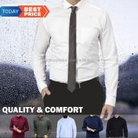 Kemeja Lengan Panjang Polos Kerja Kantor Formal Pria Putih Hitam Biru