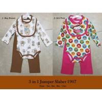 3 IN 1 JUMPER SLABER 1907 / PAKAIAN BAYI SET / BAJU BAYI / BABY GIFT - boy brown, 3 bulan
