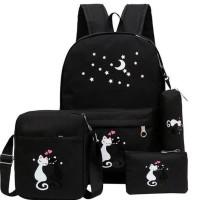 Rekomendas.I Tas Wanita Ransel Backpack 4In1 Set Murah 4 In 1 Sekolah