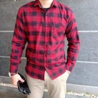 kemeja Pria Flanel Merah kotak Hitam Kemaja Casual Pria lengan Panjang