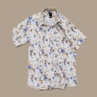 Kemeja Kasual Pria, Motif Floral Putih-Coklat-Biru, Kualitas Premium - XL