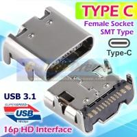 Soket Type C Female USB 3.1 16p HD SMT Betina Connector Socket Tipe C