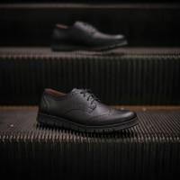 Sepatu Formal Pantofel Pria Hitam Bertali Kulit Asli Berkualitas Ori
