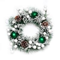Hiasan Krans Natal Salju Pinus Hijau 20cm -Gantungan Krans Natal Murah