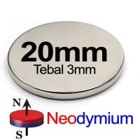 MAGNET NEODYMIUM SUPER KUAT STRONG BULAT 20mm x 3mm 20*3mm