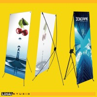 Custom Free Design Cetak Standing X Banner Y Banner Spanduk 160x60cm