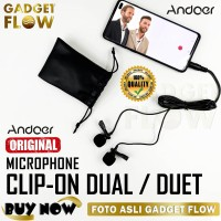 DUAL Microphone Mic Clip On DELUXE 3.5 mm Duet Mic For Android