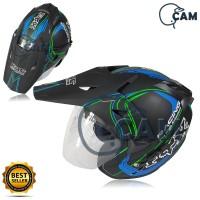 Helm motor SNI 2 kaca KNC trail cross Turbo black doff biru bukan jpx