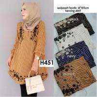 H451 TUNIK Wollpeach Import baju atasan wanita muslim garis murah