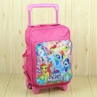 Ransel Dorong Anak Perempuan Motif Pony Warna Pink Lucu Tas Troli Kece