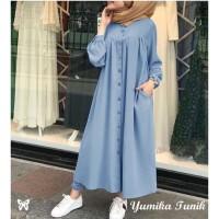 Simpel Long DRess polos blue bahan katun chambrey Yumika fit to XL
