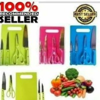 Pisau Set 5 In 1 - Talenan Gunting Parutan Peeler - Knife Kitchen Set