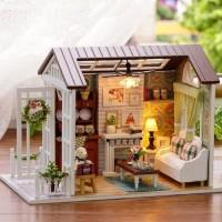 Miniatur Rumah Boneka LED DIY mainan edukasi