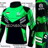 jaket gojek turing waterprof logo baru bordir - Hijau, XL