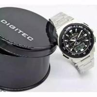 Digitec DG 3068 rantai silver jam tangan ori pria rantai water resist