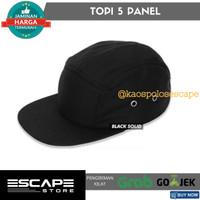 Topi 5 Panel Basic Polos Premium Distro Termurah - HITAM