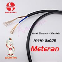 Kabel Listrik Flexible Hitam NYYHY 2x0.75 SUPREME Serabut SNI *Meteran