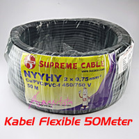 Kabel Listrik Flexible Hitam NYYHY 2x0.75 SUPREME Serabut SNI 50Meter