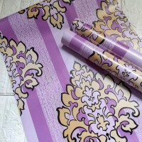 Damask stripe purple 45 cm x 10 mtr ~ Wallpaper sticker dinding