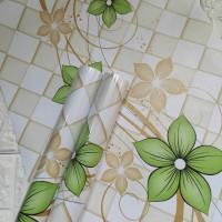 Wave green flower 45 cm x 10 mtr ~ Wallpaper sticker dinding